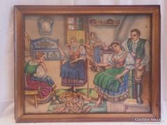 Kukoricamorzsoló konyhai életkép antik festmény