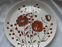 Nagy retro barna virágos tányér
