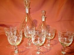 Gyönyörű üveg italos készlet, butella, pohár