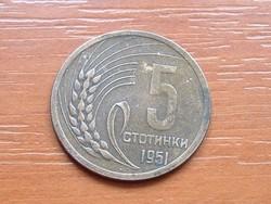 BULGÁRIA 5 CTOTINKI 1951
