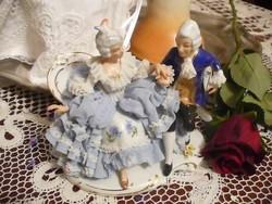 SANDIZELL antik porcelán barokk páros figura