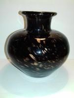 Fekete arany elegáns vastag falú üveg váza
