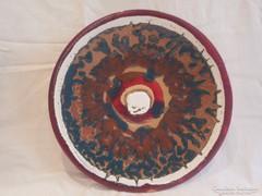 Zsűrizett retro iparművész kerámia falitál 31,5 cm