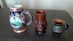 3 darabos kerámia csomag: bögre, kancsó, váza