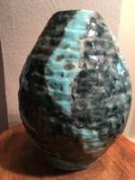 Mázas terrakotta váza -Ly jelzéssel-kézzel felrakott