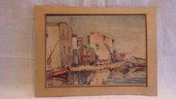 Jelzett akvarell festmény 1939 jó darab