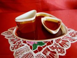 3 részes Hollóházi porcelán dohányzó készlet: tálka, hamutál, cigaretta tartó