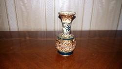 Zsolnay antik mini váza,alul dupla falú áttöréssel