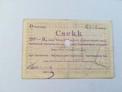 1919-es 20 Korona Pápai Takarékpénztár csekk