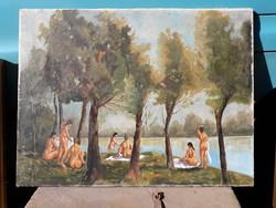 Fürdőző leányok - festmény.