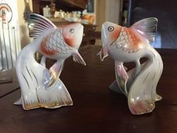 Hollóházi kézi festésű, szépen aranyozott halacskák