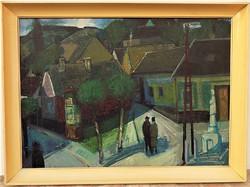 Kovács Sándor (1914-) Budafoki utcarész:c. Képcsarnokos olajfestménye 76x56 cm Eredeti Garanciával!!