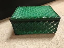 Zöld malachit üveg tároló doboz, ékszertartó