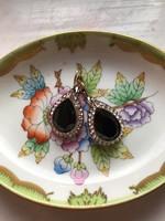 Fekete köves török stílusú fülbevaló- francia kapoccsal