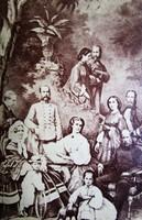 FERENC JÓZSEK ERZSÉBET KIRÁLYNÉ SZISZI + CSÁSZÁRI CSALÁD KORONA HERCEG KEMÉNYHÁTÚ FOTÓ cca 1860