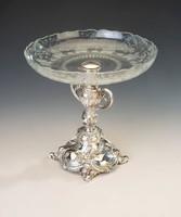 Ezüst üveges asztalközép/ kínáló