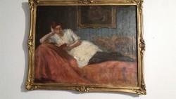 Fekvő Olvasó Nő - Alkotó : Benjamin Hermann ( 1914 -es alkotás )