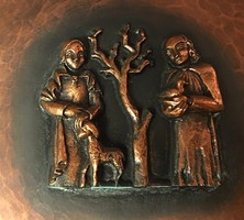 Teván, óriás vörösréz falitál  öblében öntött bronz plasztika 36 cm
