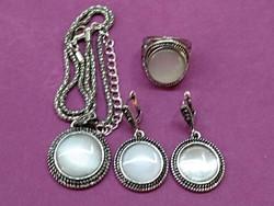 Opál és kristály köves ékszer szett, nyaklánc, fülbevaló és gyűrű