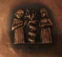 Teván Margit 25 cm vörösréz falitál Ádám és Éva