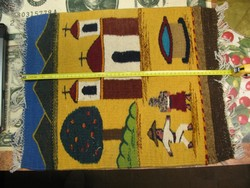 Szőnyeg eredeti perui, kézi csomózású, 52 x 41 cm + rojtok, 27 deka