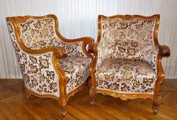 Faragott barokk fotel párban