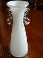 Különleges gyönyörű opál üveg váza, 16 cm magas
