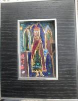 Bibliai témájú tűzzománc kép
