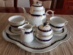"""Hollóházi """"kék rózsa"""" 2 személyes teáskészlet tálcával"""