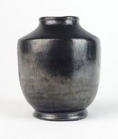 0T354 Régi fekete ónmázas kerámia váza GYULA 1932