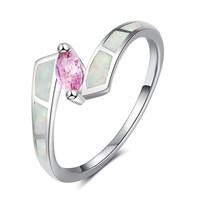 Fehér tűzopál gyűrű rózsaszín kővel  7-es  ÚJ!