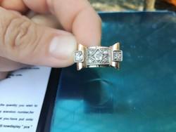 Antik art deco gyémánt gyűrű 0,9 k Peruzzi csiszolású gyémánttal