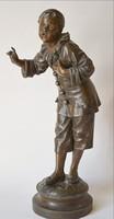Bohóc szobor patinázott eredeti színében talpán jelzéssel 46 cm