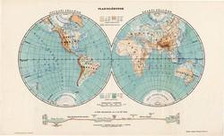 Planiglóbusok, világtérkép 1913, eredeti, teljes atlasz, Kogutowicz Manó, térkép, félgömb, régi