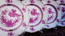 4db 100 éves Indiaikosár mintás Ó Herendi porcelán csemegetányér
