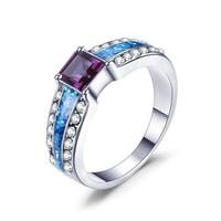 Kék tűzopál gyűrű lila kocka kővel  8,5  ÚJ!