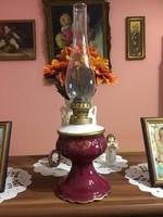 Porcelán lámpa (petróleumlámpa) barokk díszítéssel