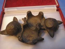 Hagenauer stíl Art decó fűszertartó v.hamuzó bronzból  Cica Pár  Gyűjtői  Ritkaság