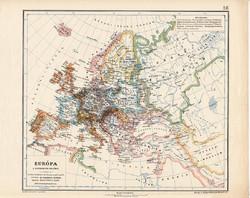 Európa térkép a reformáció idején, kiadva 1913, eredeti, teljes atlasz, Kogutowicz Manó, történelmi
