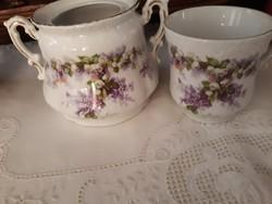 Orgonás-gyönygvirágos csésze,cukortartó