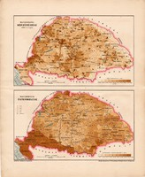 Magyarország népsűrűsége és őstermelése térképek 1898, magyar történelmi atlasz, régi, térkép