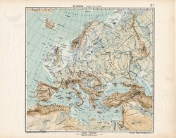 Európa hegy- és vízrajzi térkép 1913, eredeti, atlasz, Kogutowicz Manó, földrajz, régi, magyar
