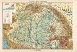 Nagy - Magyarország hegy- és vízrajzi térkép 1913, eredeti, atlasz, Kogutowicz Manó, földrajz