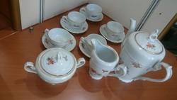 Csodaszép cseh porcelán 6 személyes kávéskészlet őszi mintával aranyozott kiváló állapotban