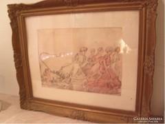 E10 Kunffy Lajos  lappangó munkája. A lányokat kordában kell tartani üveglapos 59 X 50 cm leárazva