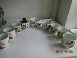 Festményszerű levél-gyümölcs mintával barna árnyalatokkal Őszi hangulatú kávés készlet 6 sz.
