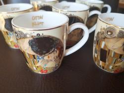 Gustav Klimt: A csók Goebel Artis Orbis limitált kávéscsészék 6db alj nélkül, új, hibátlan állapot