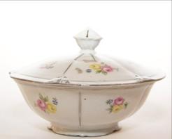 Porcelán cukortartó  tetővel virágmintákkal festve alján jelzett