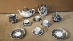 Bareuther Bavaria kávéskészlet és Dekor Bavaria Feinsilber teáskanna és két tányérka