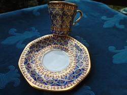 BEJARONG-dombor színes zománc és arany díszítéssel-csésze alátéttel-8 cm